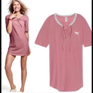 VS Pink Lace up Sleep Tee